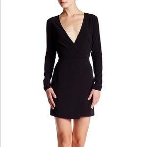 Halston Heritage long Sleeve V- Neck Crepe Dress